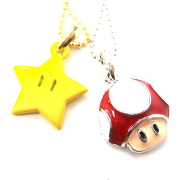 Super Mario Themed Mushroom and Super Star Power Up Pendant Necklace
