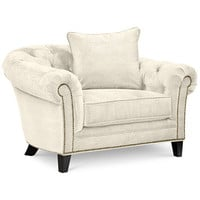 Jazmin Fabric Tufted Arm Chair | macys.com