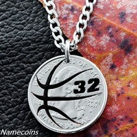 Custom Basketball Necklace with your Jersey Number, Hand cut coin