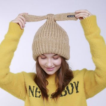 Winter Leisure Warm Hat Lady  Lovely Ears Cap Fashion Without Brim Hat Solid Colour Blended Knitted Female Hat