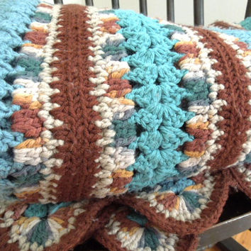 Large crocheted blanket afghan in brown blue teal turquoise white - Crocheted blanket or large throw - Mothers day gift (Ready to ship)