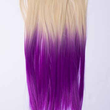 Ombré Blonde > Purple Dip Dyed 7pcs Straight Clip-In Hair Extensions