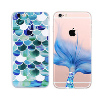 Fashion Mermaid Scales Ultra Thin Soft Tpu Phone Case Coque For Apple Iphone 6 6s Plus Rubber Funda Cover+Nice Gift Box