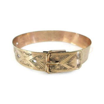 Victorian Bracelet, Gold Filled, Buckle Bracelet, Etched Engraved, Bangle Bracelet, Victorian Jewelry, Vintage Jewelry