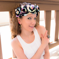 Black Pastel Rainbow Rose Flower Crown, Flower Headband, Pride Headband, Kawaii Headband, Lolita Headdress, Coachella Crown, Burning Man