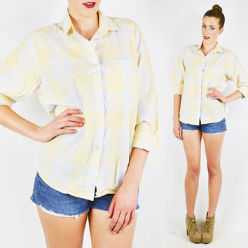 vintage 80s DIANE VON FURSTENBERG plaid shirt / plaid button up shirt / plaid blouse / pastel plaid shirt / yellow plaid shirt / s m l