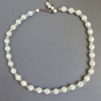 Vintage Crystal Necklace, West Germany Crystal Bead Necklace, White Bead Choker, Bridal Jewelry