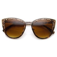 Womens Oversized Metal Plastic Cat Eye Sunglasses