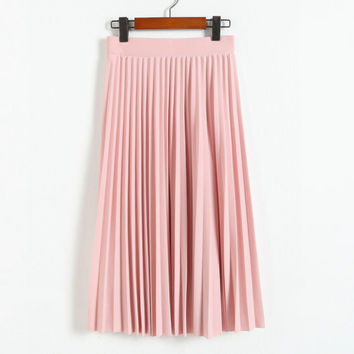2016 spring all-match chiffon skirt waist fold slim skirt pleated skirt Department summer slim skirt