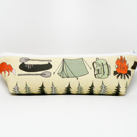 Pencil Case - Summer Camp Zipper Pouch - Makeup Bag - Camp Fire Bear Fox Tent Kayak Backpack Evergreen Trees - Back to School Supply