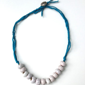 Porcelain Bead Necklace on Electric Blue Silk Cord, Silk Cord Necklace