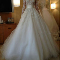 Winter Long Sleeve Lace Sheer Illusion Wedding Dresses Bridal Ball Gowns Custom