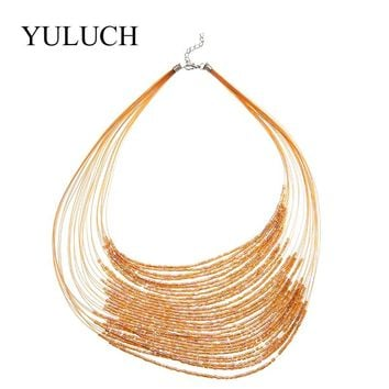 Fashion Trendy Multilayer Glasses Beaded Necklace Torques For Women Gold/Black Big Handmade Jewelry Stone Shaining Necklace Sale