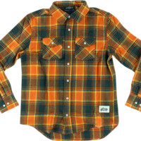 Grizzly North American Flannel Ls M-Orange