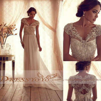 2014 New Fashion Wedding Dresses Beaded V-Neck and Back Ruched Chiffon Court Train Floor Length Wedding Dress Wedding Gown Bridal Dress