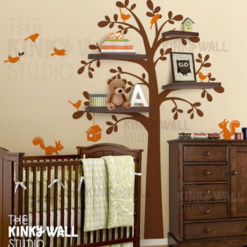 Children Wall Decal Wall Sticker -Shelf Tree Wall Decal Nursery Decal- KK125
