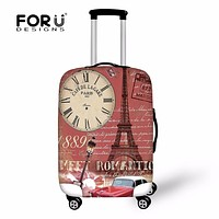 FORUDESIGNS 2018 Waterproof Luggage Protective Cover For 18-30 Inch Travel Suitcase Vintage Elastic Thick Trolley Luggage Covers
