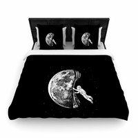 "BarmalisiRTB ""The Night Has Come"" Black White Woven Duvet Cover"
