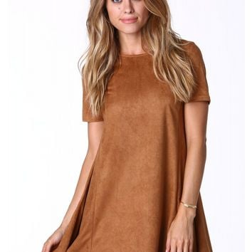 Cindy Suede Zip Back Dress