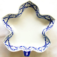 """Thai CERAMIC PLATE Maple Leaf Shaped ~ Blue & White Platter ~ Hand Painted by Thai Artisans ~ 9"""" x 8.8"""" x 2.2"""" ~ New ~ Ships from USA"""