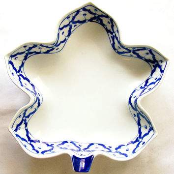 "Thai CERAMIC PLATE Maple Leaf Shaped ~ Blue & White Platter ~ Hand Painted by Thai Artisans ~ 9"" x 8.8"" x 2.2"" ~ New ~ Ships from USA"