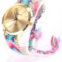 Pink Purple Braided Yarn High Polish Metal Watch