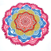 147*147CM Round Beach Towel Tassel Decor Flowers Pattern Yoga Picnic Mat Circular Tablecloth with Small Balls Cover-ups Hot Sale