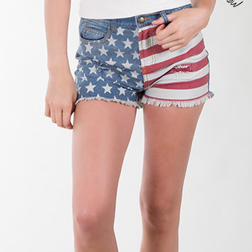 OTHERS FOLLOW PREMIUM DESIGN High Waisted Patriotic Denim Jean Shorts (CLEARANCE)