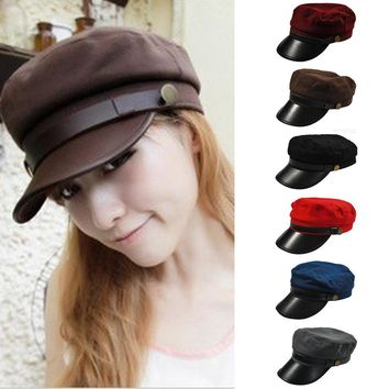 Trendy Winter Jacket Men Women Classic Army Cadet Baseball Cap Hat Faux Leather Trucker Hats HATBD0017 AT_92_12