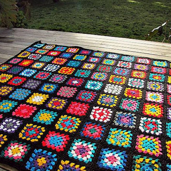Crochet Afghan Blanket Granny Square Baby Blanket Home Decor Table Cover Bohemian Deck Rug Home Decor Sofa Throw Free Shipment MADE TO ORDER