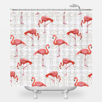 Flamingo Bird Background Shower Curtain