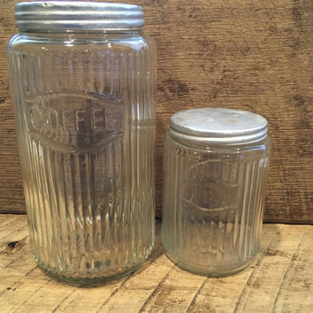 Vintage Hoosier Canisters, Coffee Canister , Tea Canister , Hoosier Jars , Hoosier Cabinets ,  Tea Jar , Coffee Jar , Coffee and Tea