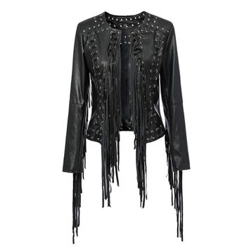 Women Jacket Fashion Brand New European Style Streetwear Fringed Leather Jacket chaquetas mujer OME144