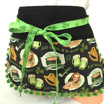 Cocktail Waitress Apron - St Patrick's Day Apron, Sexy Apron, St Patty's Day Accessories, Shamrock Apron, Money pouch