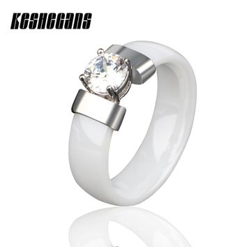 Black White Ceramic Ring With Crystal Cubic Zirconia 6mm Wide For Women Lady Wedding Engagement Fashion Jewelry Classic Style