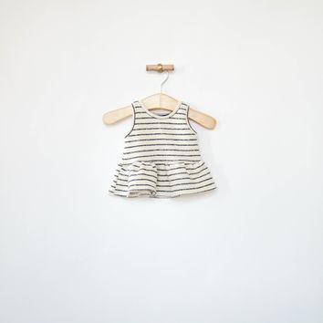 Peplum Tank in Charcoal Stripes