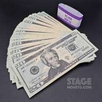 100x $20 Bills - $2,000 New Style Prop Money
