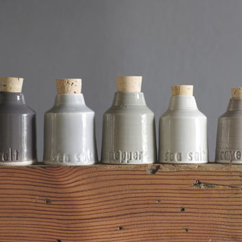 custom spice bottle set - small pottery jar with custom lettering by vitrifiedstudio - modern minimal utilitarian handmade ceramics