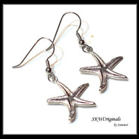 Starfish Silver Charm Earrings - Beach Charm Earrings - Womens Summer Jewelry