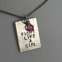 FIGHT LIKE A GIRL Cancer Awareness Necklace - Cancer Awareness Jewelry - Motivational Necklace - Choose your Crystal Color - Awareness