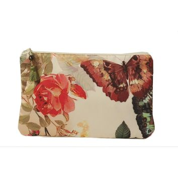 Satin Floral Clutch Bag