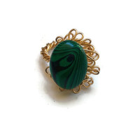 Malachite Ring in a Gold Wire-Wrapped Design - Size 7 - RIN079