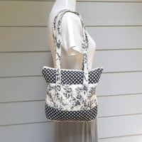 Vintage Black & White Quilted Cotton Purse