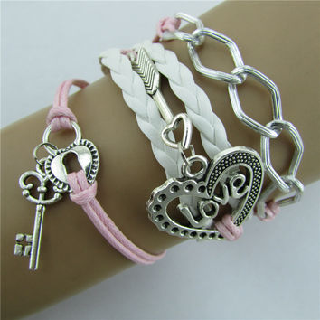 LOVE Heart Arrow Lock Key Multi-strand Bracelet