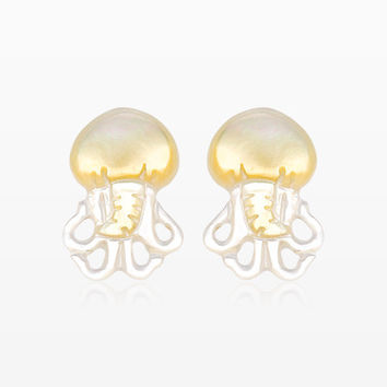 A Pair of Gleaming Jellyfish Handcarved Earring Stud