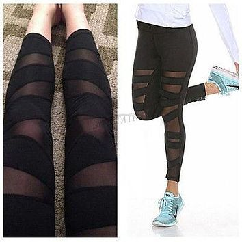 New Women Sports Trousers Yoga Mesh Workout Gym Leggings Fitness Athletic Pants