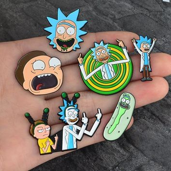 SMJEL Kids Jewelry Rick and Morty Science Cartoon Enamel pin Badge Brooch Broches Anime Lovers Shirt Denim Jackets lapel pin