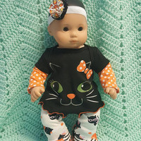 "Baby Doll Clothes made to fit Bitty Baby® "" Halloween Kitty"" 15 inch doll outfit dress pants socks and headband hair clip B7"