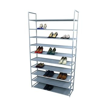 10 Tiers Shoe Rack 50 Pairs Non-woven Fabric Tower Storage Organizer Cabinet