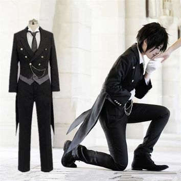 Anime Black Butler Sebastian Michaelis Cosplay Black Uniform Outfit Halloween Costumes for Women Mens Carnaval Disfraces New